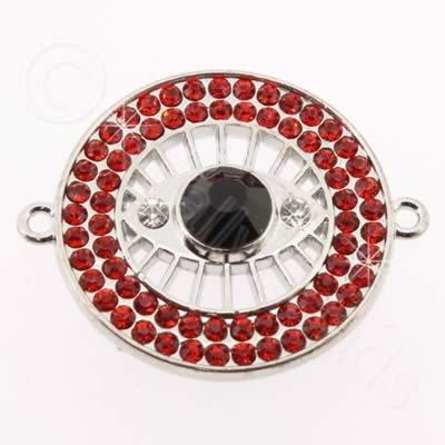 Metal Eye Connector 30mm - Red Rhinestone