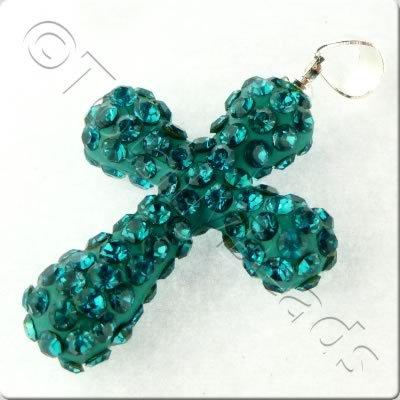 Shamballa Cross Pendant - 32x23mm - Teal