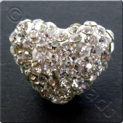 Shamballa Heart Bead - 20mm - Crystal