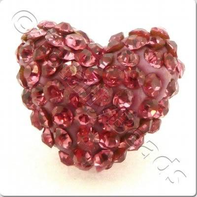 Shamballa Heart Bead - 20mm - Pink