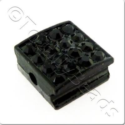 Shamballa Flat Square Bead - 10mm - Jet Black