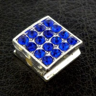 Shamballa Flat Square Bead - 10mm - Royal Blue n Silver