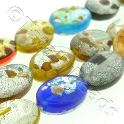 Silver Foil Millefiori - Flat Oval 13x18mm - Mixed