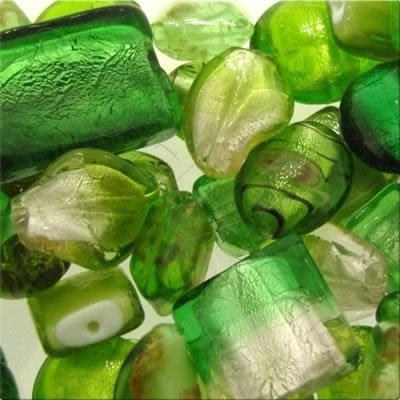 Lampwork & Silver Foil Mixed Beads 100g - Green