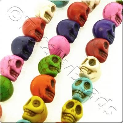 Synthetic Turquoise Skulls 12mm Mixed