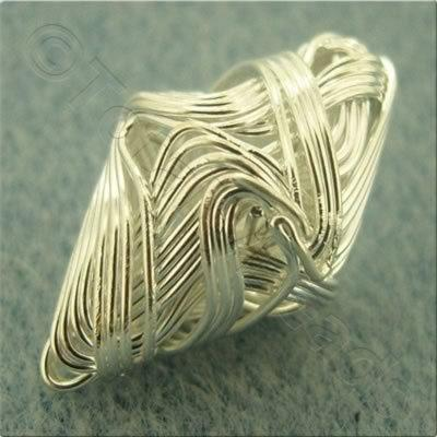 Multi Wire Bead - Diamond 25x15mm - Silver