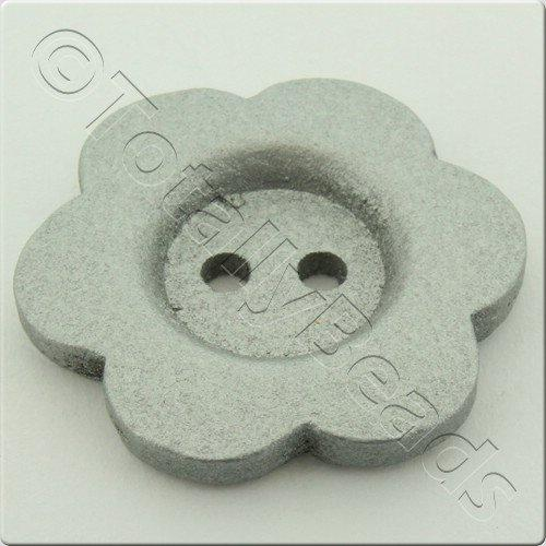 Wooden Flower Button 27mm - Silver