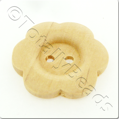 Wooden Flower Button 27mm - Natural