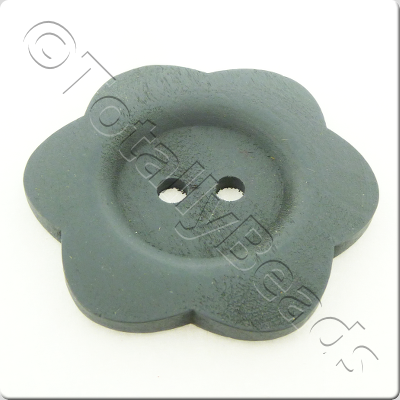 Wooden Flower Button 50mm - Grey