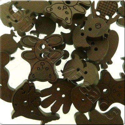 Wooden Button Mixed Shapes - Dark Brown