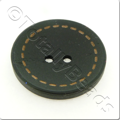 Wooden Button Stitch Effect 30mm - Black