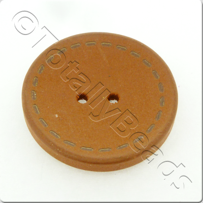 Wooden Button Stitch Effect 30mm - Coffee