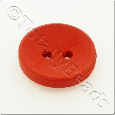 Concave Wooded Button 15mm - Red