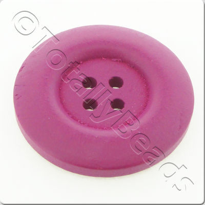 Wooden Button 30mm - Hot Pink