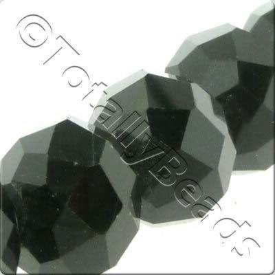 Crystal Rondelle 10x14mm - Jet Black