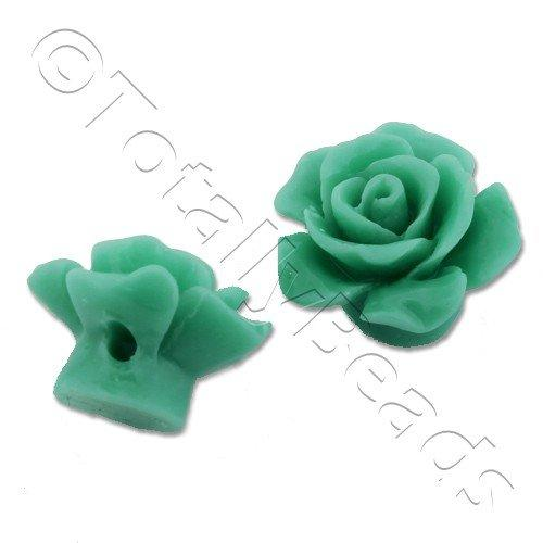 Acrylic Rose 15mm 1 Row - Green 4pcs