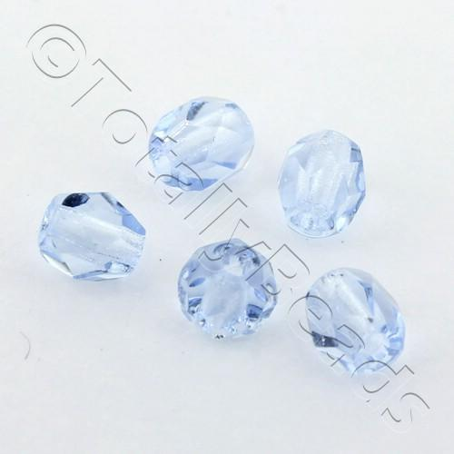 Czech Fire Polished 4mm Faceted - Light Sapphire - 100pcs
