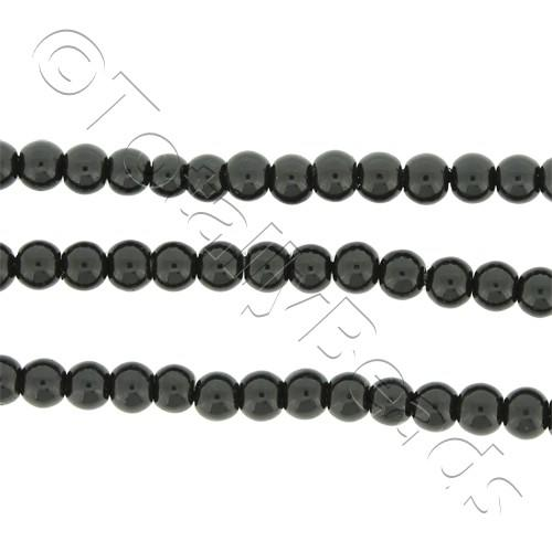 Glass Pearl Round Beads 3mm - Black