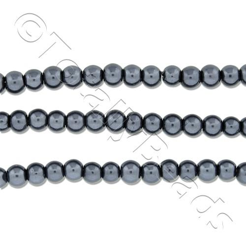 Glass Pearl Round Beads 3mm - Hematite