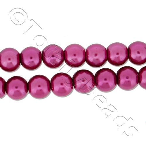 Glass Pearl Round Beads 6mm - Fuchsia