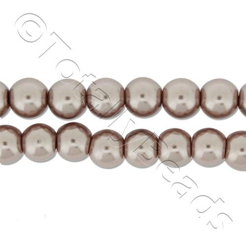 Glass Pearl Round Beads 6mm - Mink