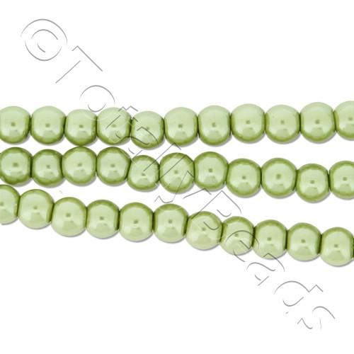 Glass Pearl Round Beads 4mm - Light Olive