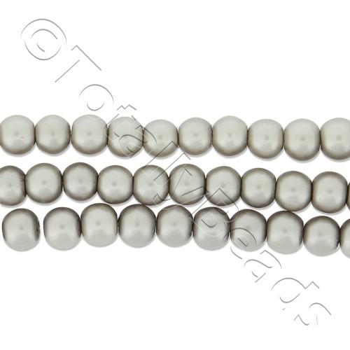 Glass Pearl Round Beads 4mm - Silver Grey