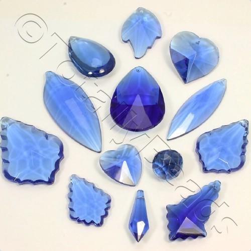 Glass Pendant Pack - Mix of 12 Pendants - Blue