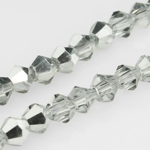 Crystal Bicone 4mm - Half Silver Plate