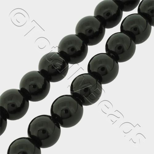 "Synthetic Onyx Round Beads 8mm 16"" String"