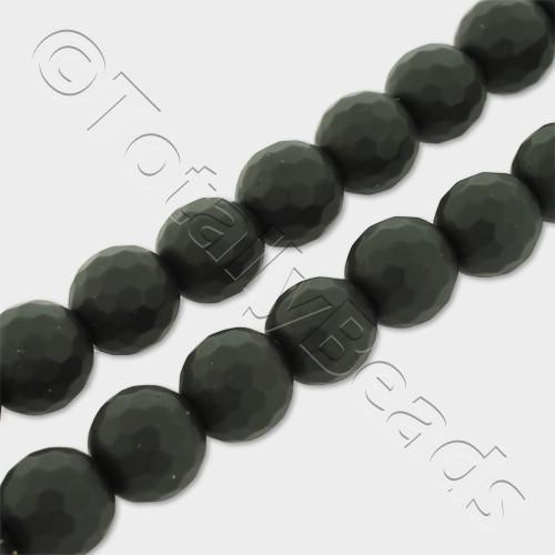 "Synthetic Onyx Round Faceted Beads 8mm Matt 16"" String"
