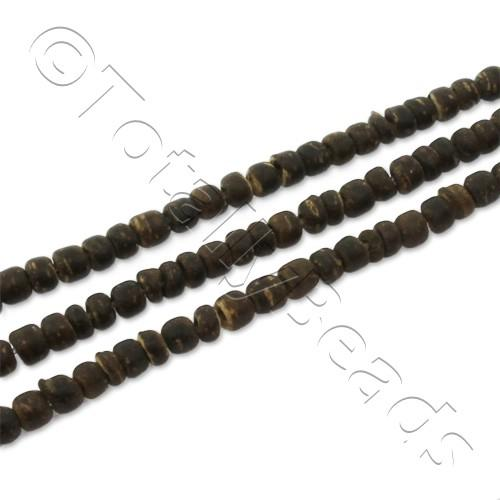 "Wooden Bead - Dark Colour Rondelle 3mm 16"" String"