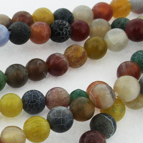"Matt Frosted Cracked Agate Beads - Round 6mm mixed 16"" inch"