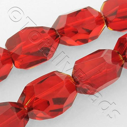 Faceted Nugget 18mm Beads - Red