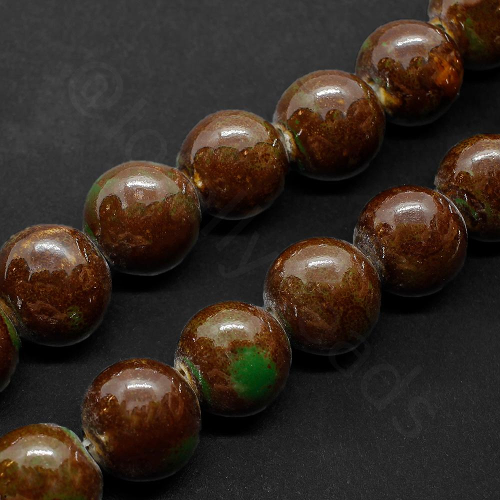 Ceramic Beads - Round 15mm - Green / Brown