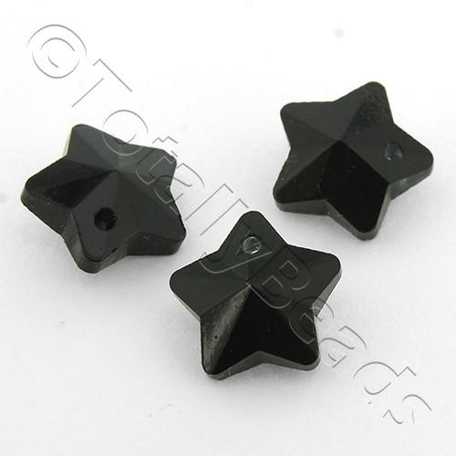 Crystal Charm Star 10mm - Jet Black 10pcs