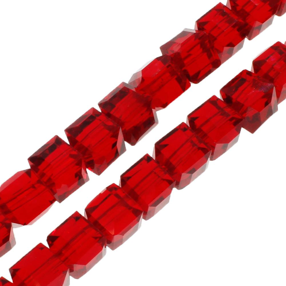 Crystal Faceted Cube 6mm Red