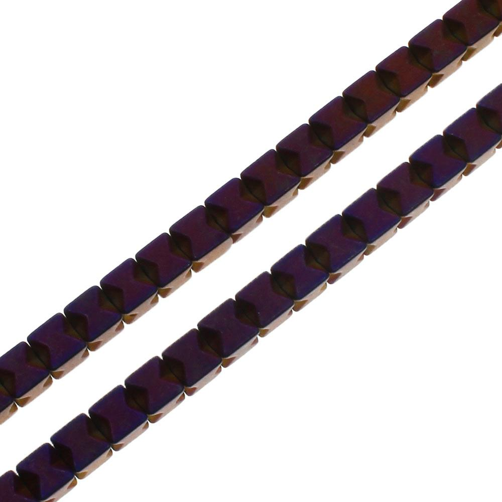 Hematite X Cube 3mm - Matt Purple Plated