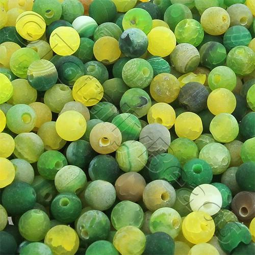 Agate Round Beads - 4mm - Green Mix