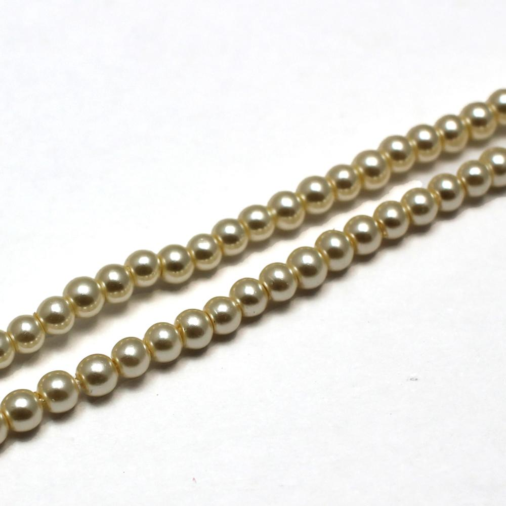 Glass Pearl Round Beads 3mm - Ivory