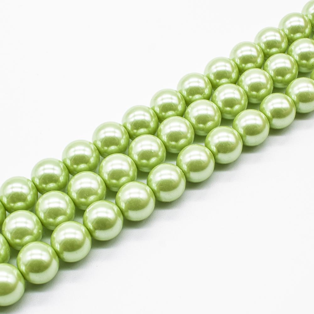 Glass Pearl Round Beads 10mm - Lime Green