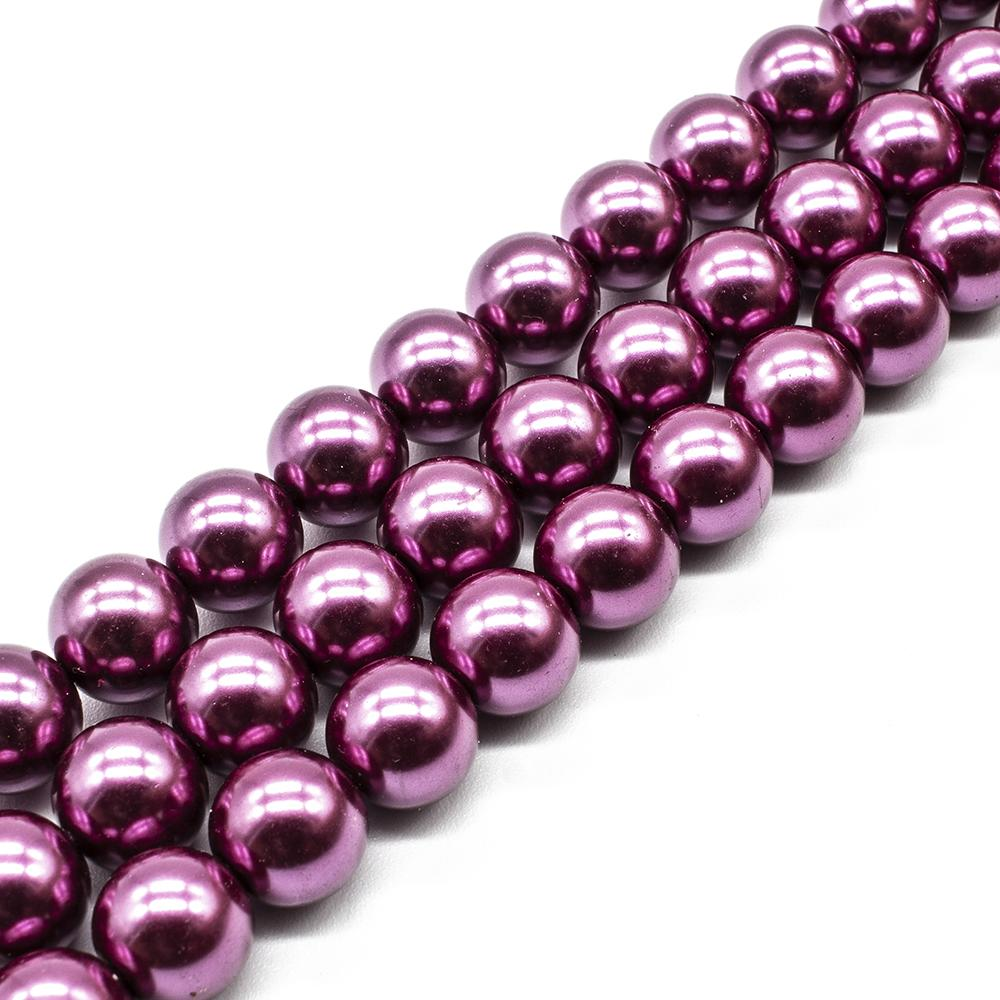 Glass Pearl Round Beads 12mm - Fuchsia