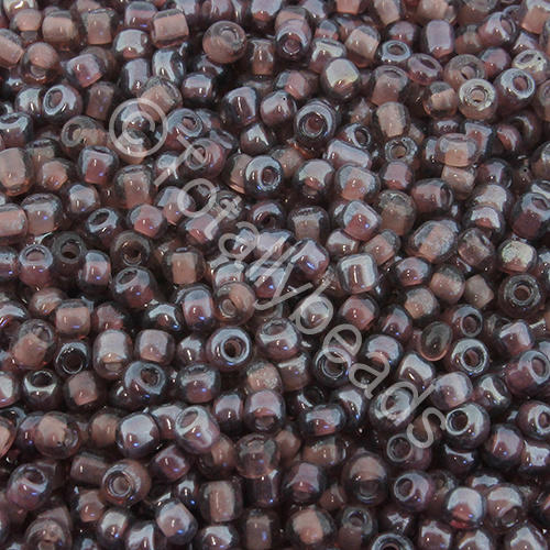 Seed Beads Colour Lined Luster  White  Purple - Size 8