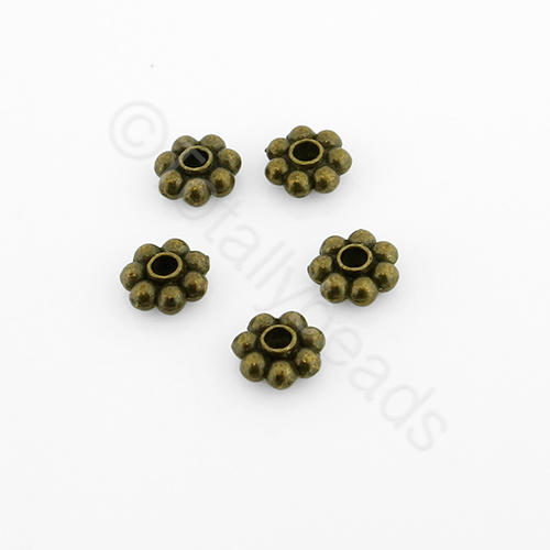 Tibetan Bronze Bead - 5mm Flower Spacer