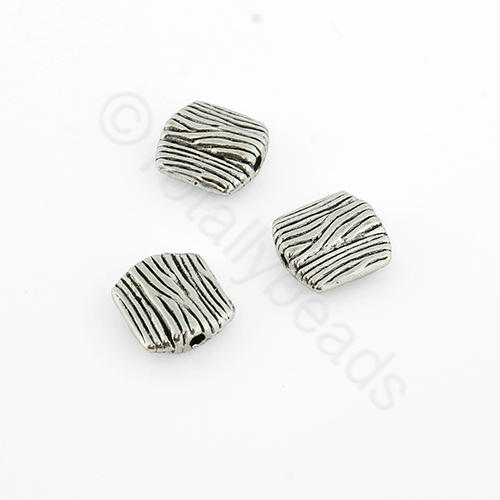 Antique Silver Bead - Square 9mm Hatched 15pcs