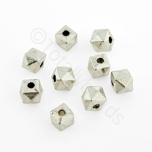 Tibetan Silver Bead - Facet Cube 5mm