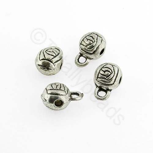 Tibetan Silver Bead - Bail Ball 6x9mm