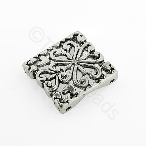 Antique Silver Metal Spacer Heart Square 18mm 4pcs