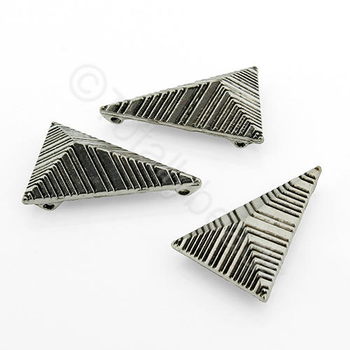 Antique Silver Metal Bead - Tetrahedron 24mm 12pcs - H1371