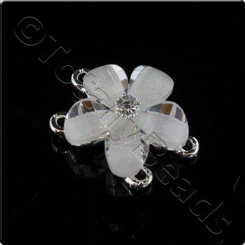 Silver Metal White Flower Connector 20mm